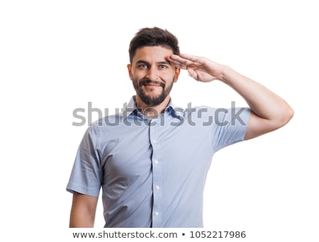 man in salute pose on white background Stock photo © Istanbul2009