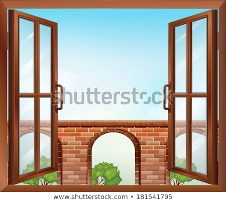 An open window with a view of the stonewall Stock photo © bluering