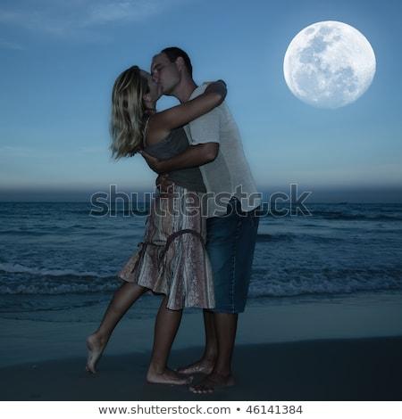 Baiser clair de lune illustration fille homme couple Photo stock © adrenalina