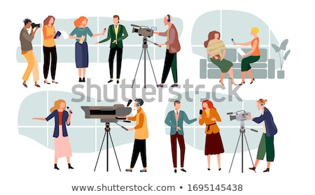 tv reporter with microphone vector illustration stock photo © rastudio