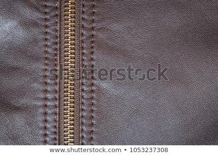Textura cuero cremallera resumen diseno metal Foto stock © OleksandrO