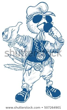 cartoon · rapper · witte · hand · man · ontwerp - stockfoto © orensila