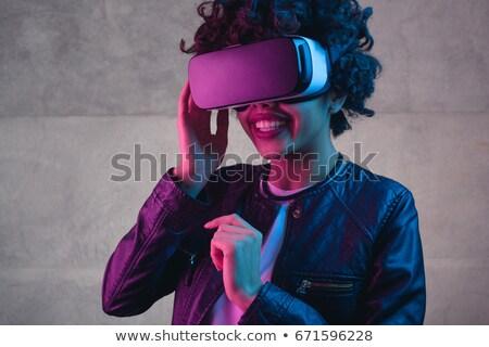 Csinos derűs hölgy visel virtuális valóság Stock fotó © deandrobot