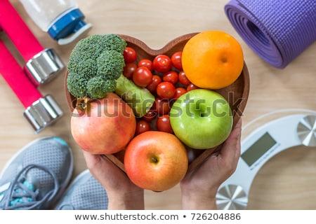 Testmozgás egészséges étrend kardiovaszkuláris egészség szimbólumok kék Stock fotó © Tefi