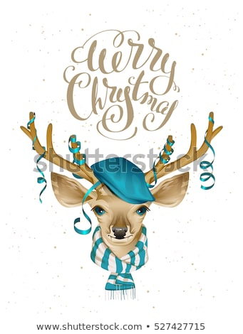 christmas deer head in blue fashionable hat and striped scarf stock photo © orensila