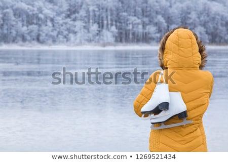 gyönyörű · női · kapucnis · kabát · kint · felfelé · néz - stock fotó © stevanovicigor
