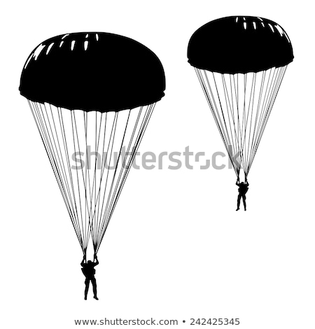 военных вектора парашютом иллюстрация изолированный белый Сток-фото © robuart