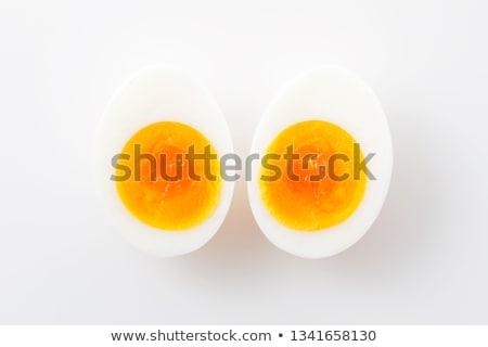 Zachte gekookt eieren twee witte Stockfoto © Digifoodstock