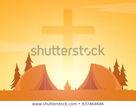 Christelijke zomerkamp avond camping kruis Pasen Stockfoto © Leo_Edition