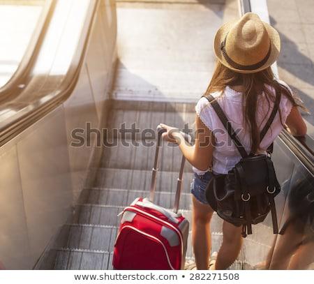 Belle jeune fille escalator posant caméra femme Photo stock © tekso