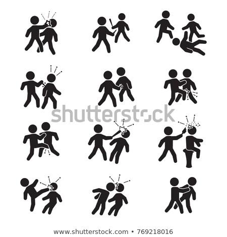 karatê · silhuetas · homens · outro - foto stock © 5xinc