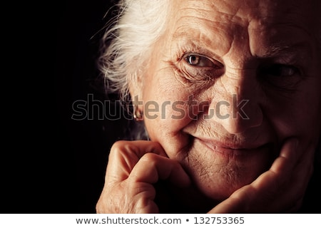 Stockfoto: Grootmoeder · geïsoleerd · oma · gepensioneerde · gelukkig