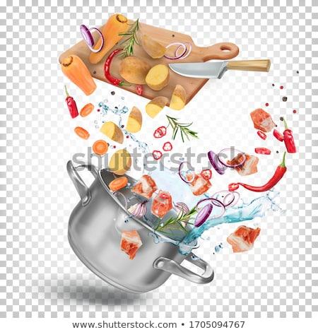 Lábas zöldségleves étel háttér ősz paradicsom Stock fotó © M-studio