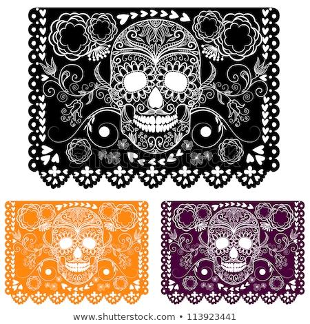 mexican · sucre · crâne · vecteur · papier · décorations - photo stock © redkoala