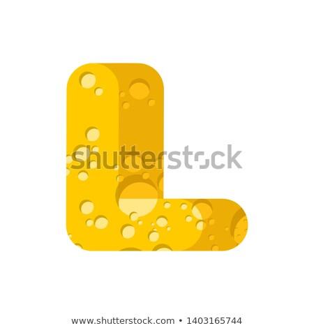Letra l queijo fonte símbolo alfabeto laticínio Foto stock © popaukropa