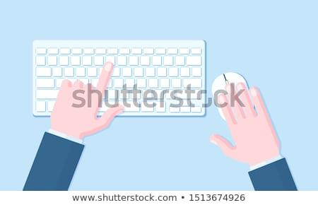Finger Presses Blue Keyboard Button Online Communication. Stock photo © tashatuvango