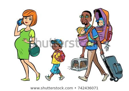 Foto stock: África · familia · mamá · papá · ninos · mujer · embarazada