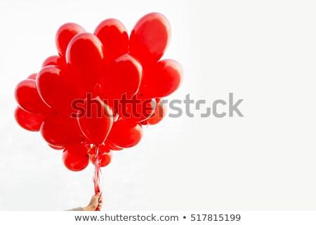 jong · meisje · bos · Rood · ballonnen · leuk - stockfoto © is2