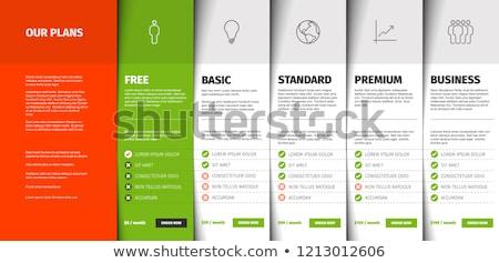 termék · szolgáltatás · ár · összehasonlítás · asztal · kártyák - stock fotó © orson