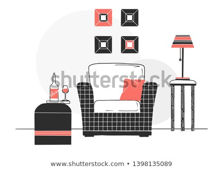 Armchair, coffee table with a glass and bottle. Hand drawn vector illustration of a sketch style. Stock photo © Arkadivna