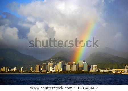 Rainbow Hawaii vert vallée Honolulu USA Photo stock © dirkr