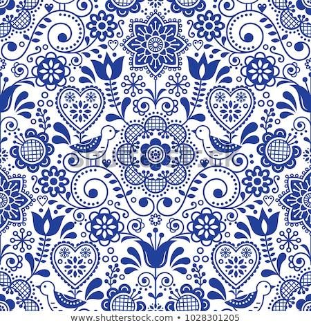 Folk art seamless vector floral pattern, Scandinavian navy blue repetitive design, Nordic ornament Stock photo © RedKoala