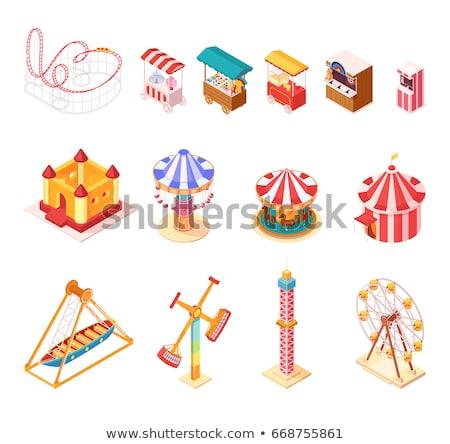 Pretpark carrousel isometrische 3D element aantrekkelijkheid Stockfoto © studioworkstock