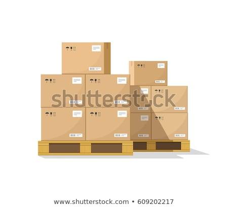 Fából készült dobozok vektor ikon globális helyi Stock fotó © studioworkstock