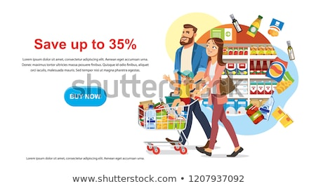 Father with son shopping at supermarket banner Stock photo © studioworkstock