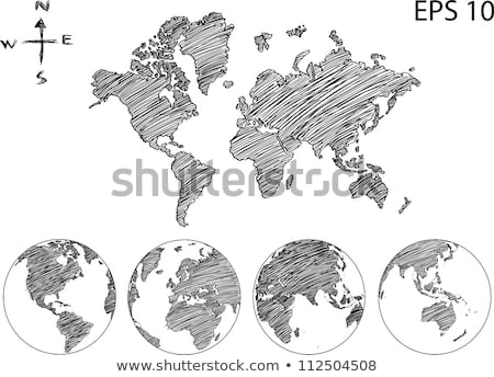 World Map Earth Globe Vector line Sketched Up Illustrator. Stock photo © alexmillos