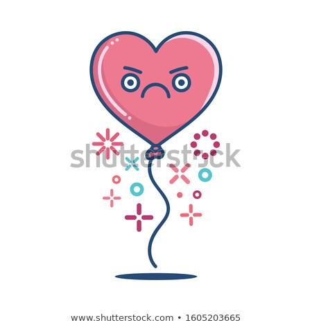Zangado vermelho coração desenho animado cara Foto stock © hittoon