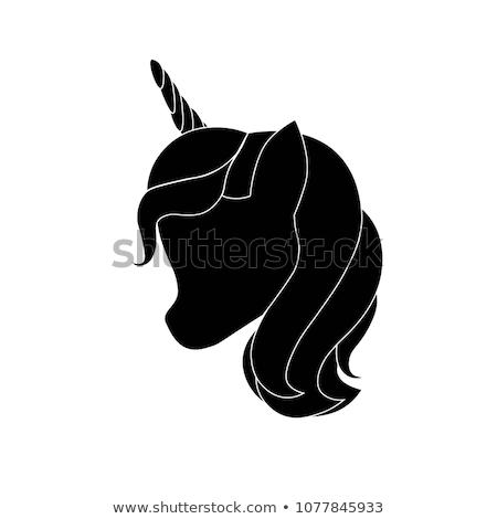 Unicorn head with horn hand drawn sketch icon. Stock photo © RAStudio