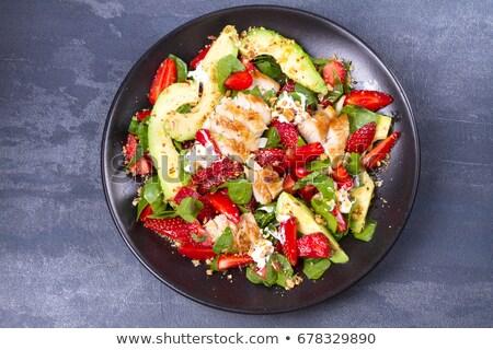 Sla salade saus groene maaltijd dieet Stockfoto © M-studio