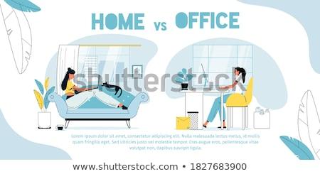Distant Work Poster Freelancer Working on Laptop Stock photo © robuart