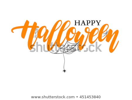 Happy Halloween spider web text greeting card Stock photo © orensila