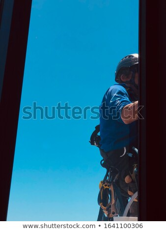 Akasztás ablaktisztító toronyház ablak alátét felfüggesztett Stock fotó © blamb