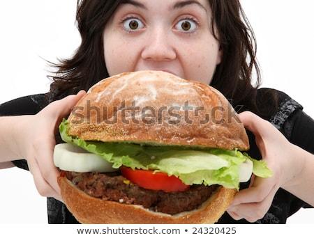 巨人 ハンバーガー 飢えた 女性 食べ ファストフード ストックフォト © rogistok
