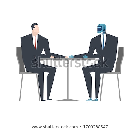 Cyborg and businessman talks. Robot and man at table. Artificial Stock photo © MaryValery
