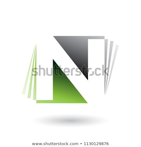 black and green letter n with vertical stripes vector illustrati stock photo © cidepix