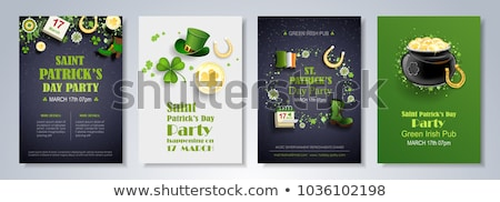 glass of green beer, horseshoe and gold coins Stock photo © dolgachov