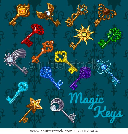 Poster with colorful vintage magic keys isolated on gray background with florid ornamentation. Sketc stock photo © Lady-Luck