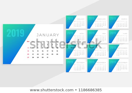 clean minimal blue monthly calenday design for 2019 Stock photo © SArts