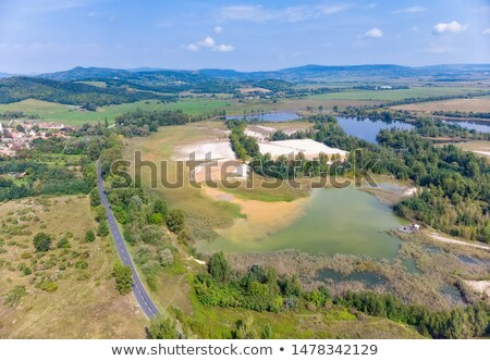 Aerial drone picture from lakes near the lake Balaton of Hungary, village Salfold Stock photo © digoarpi