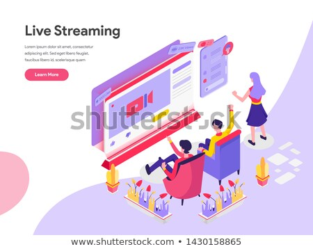 Stock photo: Isometric phone with Live Stream. The template is live streaming. Streaming video in Isometric.
