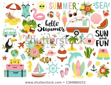 夏 · パーティ · カクテルパーティー · ベクトル · スイカ · スライス - ストックフォト © robuart