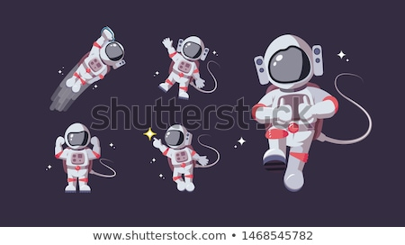 Astronot merhaba jest pop art Retro bağbozumu Stok fotoğraf © studiostoks
