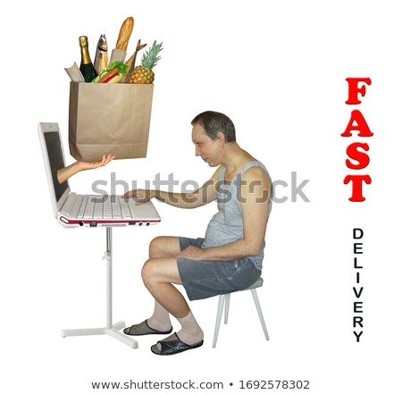 Man Work at Computer and Hands Give Him Orders Stock photo © robuart