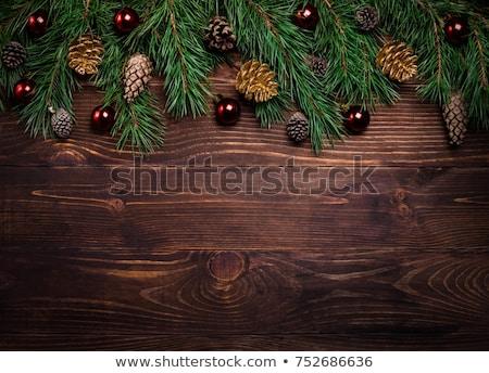 Neşeli Noel altın dekorasyon karanlık ahşap Stok fotoğraf © Voysla