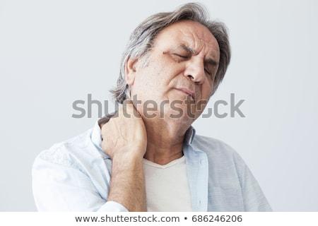 homem · sofrimento · pescoço · dor · no · ombro · isolado · cinza - foto stock © andreypopov
