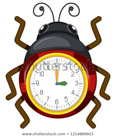 Ladybug zegar szablon ilustracja projektu sztuki Zdjęcia stock © bluering